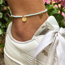 Bohemian Blue Beads Anklets Bracelets Simple Gold Color Round Sequins Pendant For Female Gift Wedding Jewelry