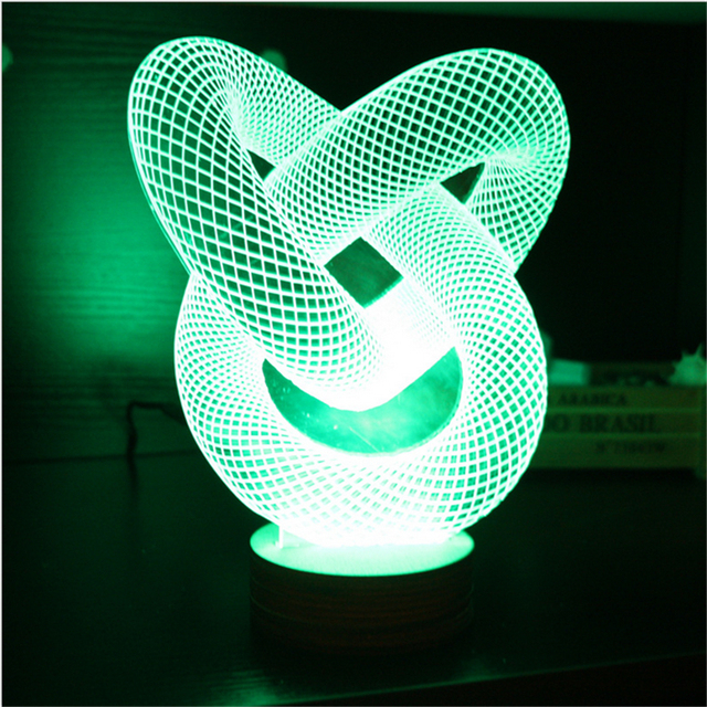 Delightful Newest Remote Control 3D LED Night Light 7 Types Light Mood Lamp USB 3D LED  Table