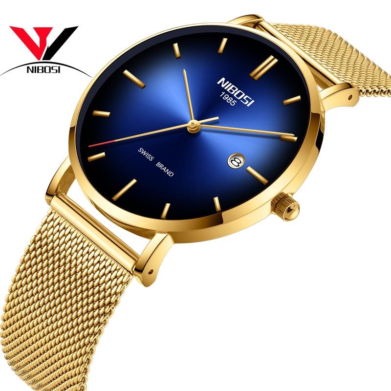 Montre homme montre bracelet étanche Date Creative luxe marque suisse Relogio Masculino mâle genève Quartz horloge NIBOSI 2362