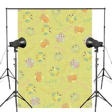 5x7ft Lovely Owl Yellow Photography Backdrop Baby Photo Studio Background Props Wall Cartoon Wallpaper