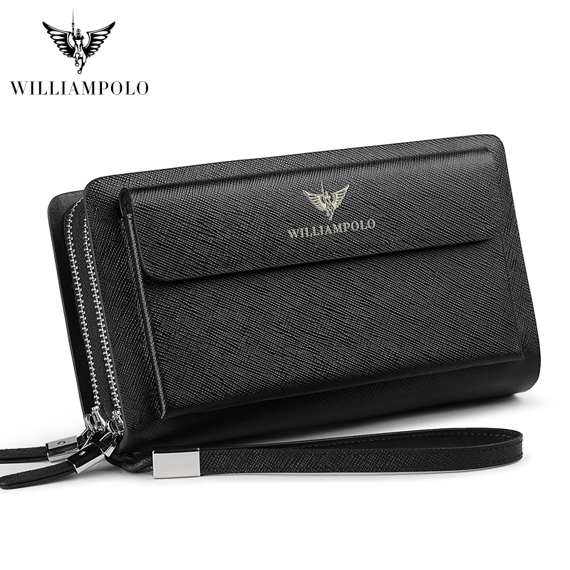 WILLIAMPOLO Leather Fashion Clutch Bag Women's Clutch Purse