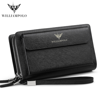 WILLIAMPOLO Leather Fashion Clutch Bag iPhone 8 Holder Portemonnee Men Wallet 21 Card Holder Wallet PL312
