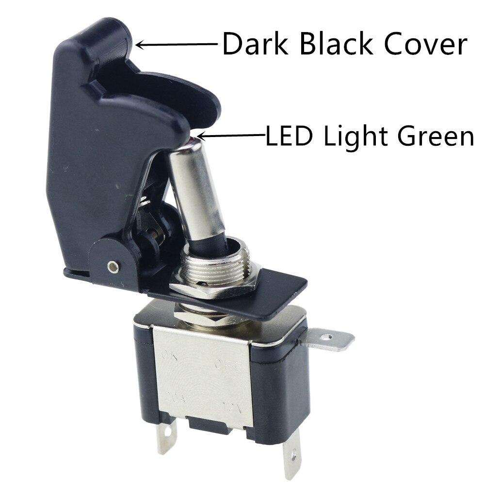 Авто автомобиль Лодка Грузовик с подсветкой светодиодный тумблер с безопасности самолета Флип-крышка охранника Красный Синий Зеленый Желтый Белый 12V20A - Цвет: LED green black cove