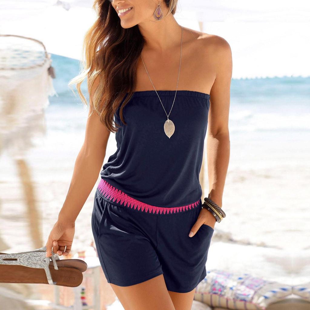 Fashion summer romper Womens Casual Off Shoulder Solid Tube Jumpsuit Pocket Short Playsuit combishort femme Dropshipping#XB30