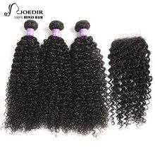 hot deal buy joedir brazilian curly bundles with closure kinky curly human hair bundles with closure non remy 3 bundles with closure