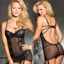 Sex Clothes Women Lingerie Stripe Babydoll backless Garter Sexy Nightie free shipping Z257