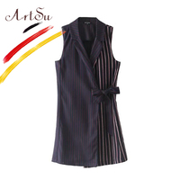ArtSu האפוד של נשים ללבוש למשרד אלגנטי ללא שרוולים צווארון Turn-למטה גבירותיי פסים מקרית מעיל וסטים חזיית Colete Feminino
