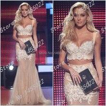 Abendkleider Lange 2015 Kristall Mermaid Champagne Zweiteiler Prom Pageant Kleider für Frauen Applique Perlen Abendkleid