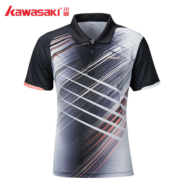 2019 Kawasaki Men Badminton Shirt Breathable Tennis Black T-Shirt Short Sleeve Quick Dry Sport Clothing For Male ST-S1106