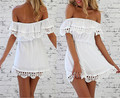 Summer Women Strapless Lace Collar Chiffon Dress Off Shoulder Mini Dresses White Black Free Shipping