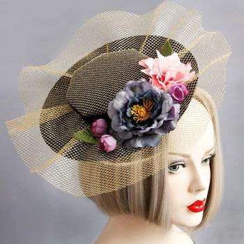 Princess Gothic Lolita Hairpin Handmade Lace Flower Hat Hair Headdress Flowers Hairclip Vintage Mini Top Hats 1