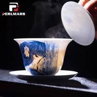 185 мл Цзиндэчжэнь синий и белый фарфор Gaiwan Винтаж Керамика Чай комплект Чай горшок крышкой тарелка чаша мастер чашки Чай чайник Чай горшок к