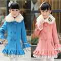 2014 Winter New Girl's Wool Jacket, Fur Collar Winter Long Outerwear