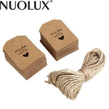 100pcs Made with Love Sign Paper Tag Wedding Party Gift Label with Twine
