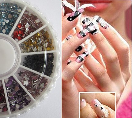 12 Different Styles Glitter Mixed Color Rhinestone Wheel Mixed