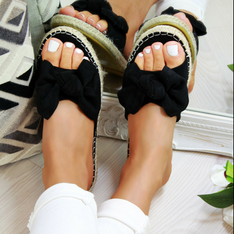BLACK Sexy Summer Sandals Bow Knot Women Slippers Open Toe Ladies Outdoor Beach Flip Flops