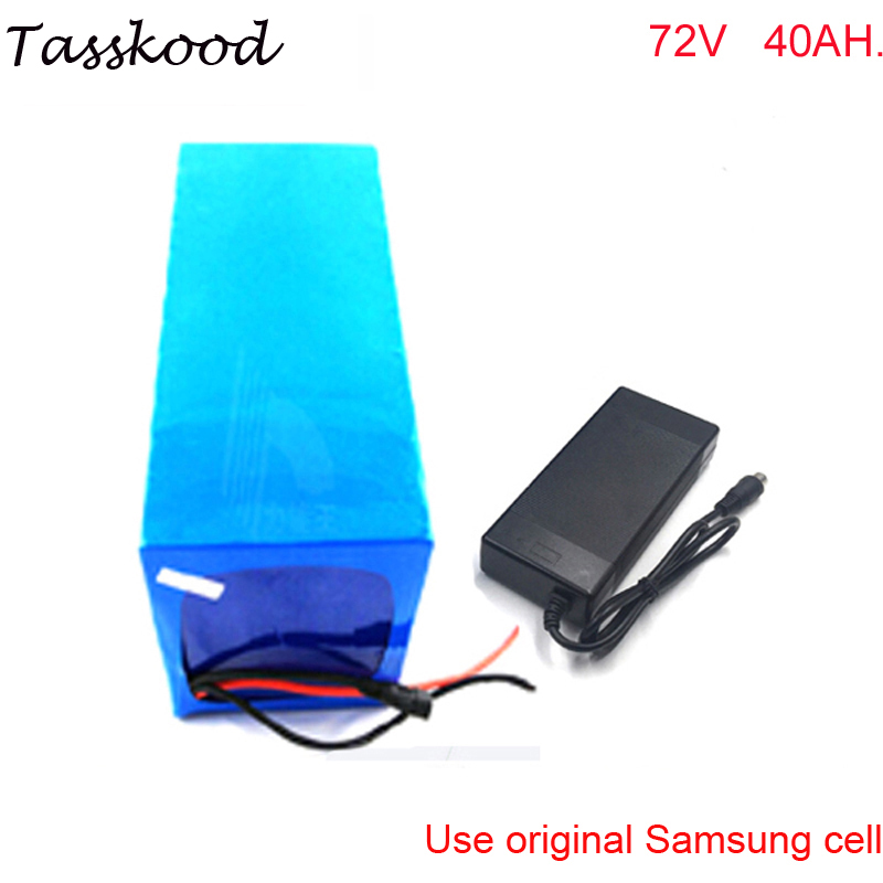 ebike battery 72v 40AH lithium battery for great powerful 72v 3000w ebike with charger +bms For Samsung cell image