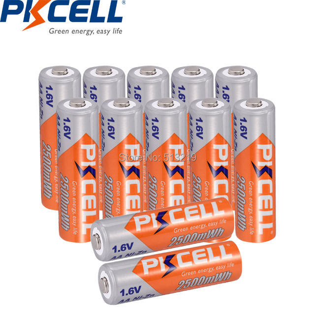 12pcs 1.6V AA 2500mWh batteria batterie PKCELL NIZN aa ricaricabile AAA batteria per la torcia elettrica di controllo remoto lettori CD
