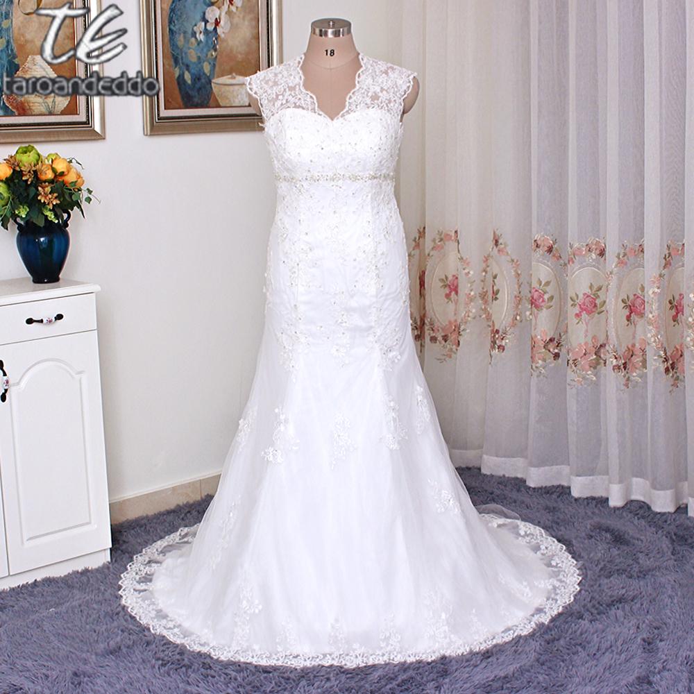 Cap Sleeve Applique Lace Over Satin Plus Size Wedding Dress