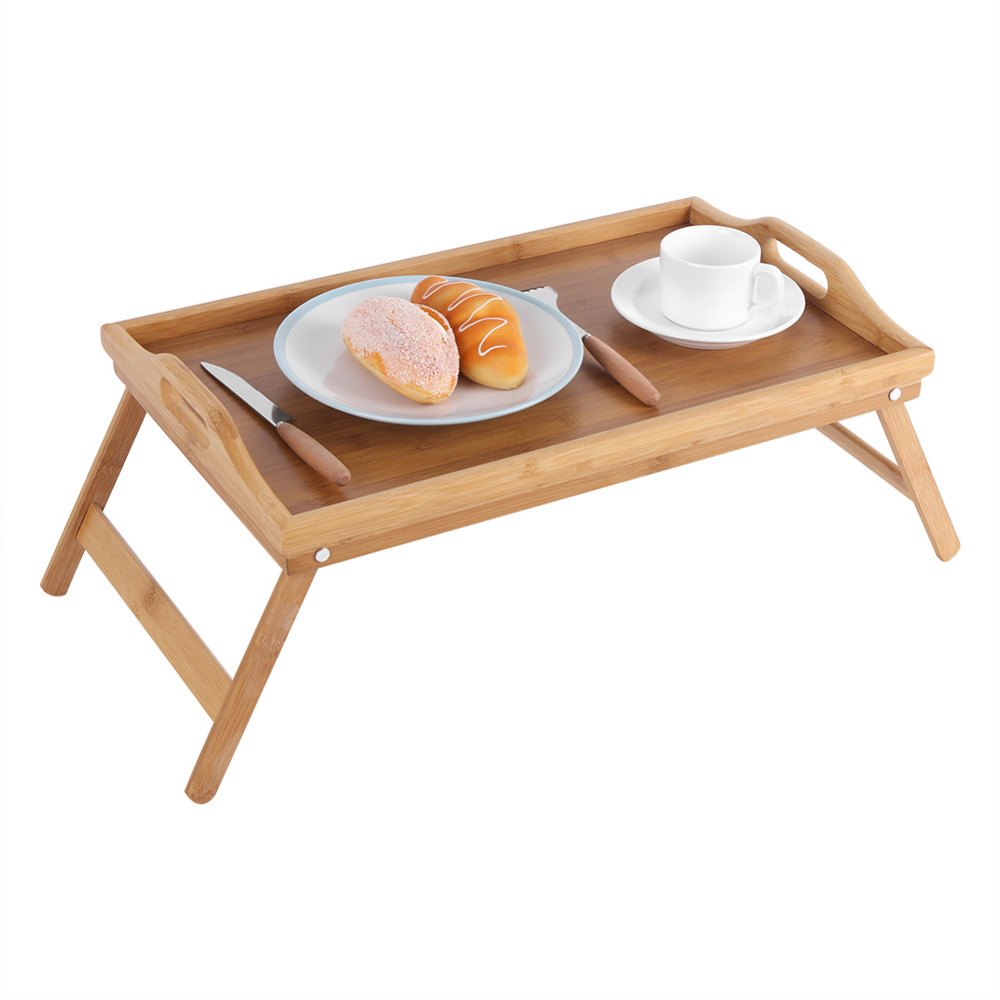 Hot Sale Portable Bamboo Wood Bed Tray Breakfast Laptop Desk Tea Food Bed Sofa Bed Tray Picnic Table Studying Table(China)