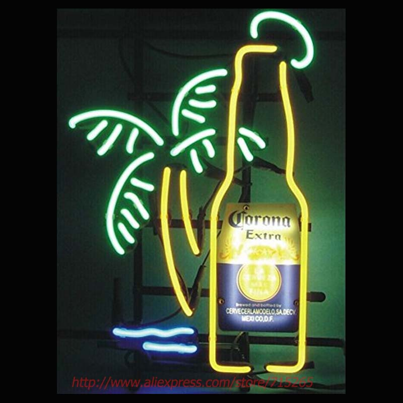 Neon Sign Corona Extra Bottle Palm Tree Neon Bulbs Signs Glass Tube Neon Publicidad Beer Signs Lighted Neon Glass Light VD 19x15
