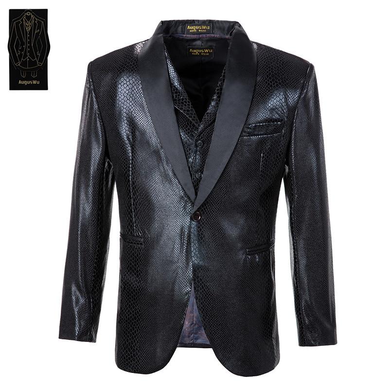 Now Popular New Handsome Men's Suit Three-piece Suit (jacket + Pants + Vest) Men's Snake Skin Line Fashion Suit Support Custom