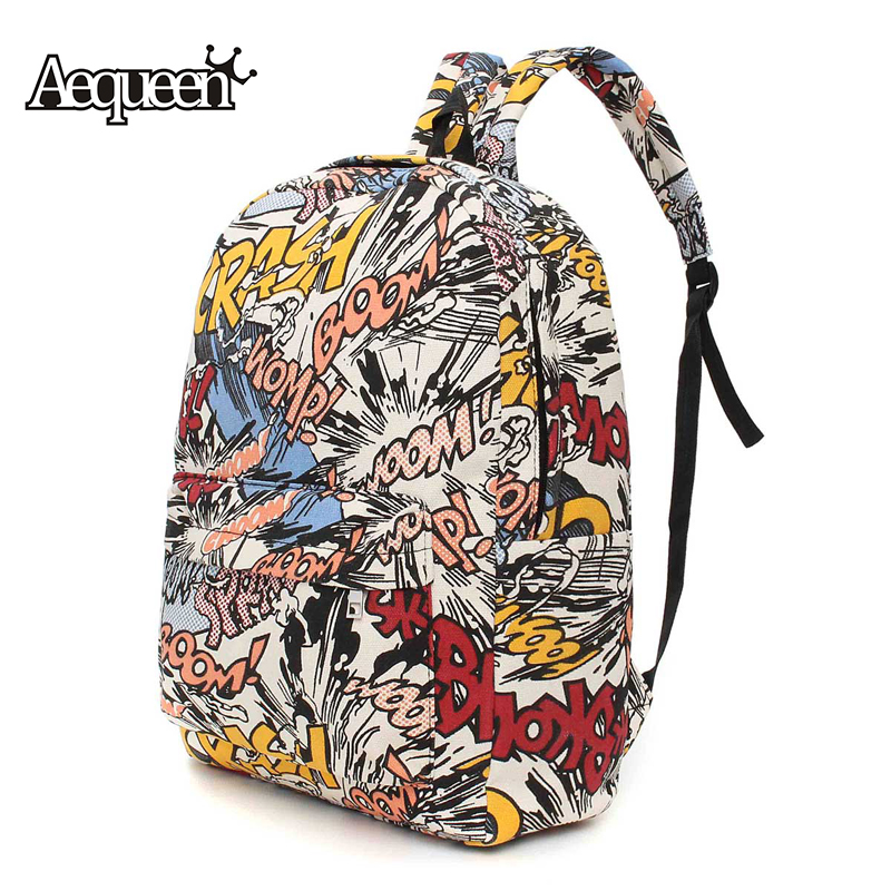 AEQUEEN Graffiti Canvas Backpack  Woman Fashion Printing Laptop Backpack School Bags For Teenagers Large Capacity Travel Bag kpop graffiti printing backpack city night scene large capacity travel student backpack school bags rucksack backpack mochilas