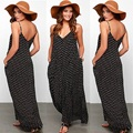 Женщины В Продаже Мода Черный Лето Boho Платье Пляж Одежда Без Рукавов Шифоновое Платье Dot Дамы Длиной Макси Пляж Платье