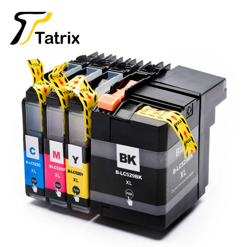 Tatrix 4 Pcs untuk Saudara LC529 LC525 Ink Cartridge 529XL 525XL untuk Brother DCP-J100 DCP-J105 MFC-J200 Printer
