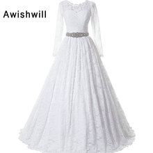 Awishwill Long Sleeve Floor Length Wedding Dress Ball Gown
