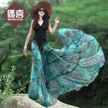 Boshow новые модные богемные шифоновые трапециевидные Длинные Макси летние и весенние синие женские юбки с эластичной талией XS-XL