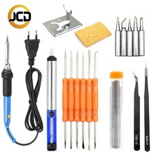 JCD EU/ US/ AU/UK  Plug 220V 60W Adjustable Temperature Electric Soldering Iron Kit with soldering aid tools and sucker pump