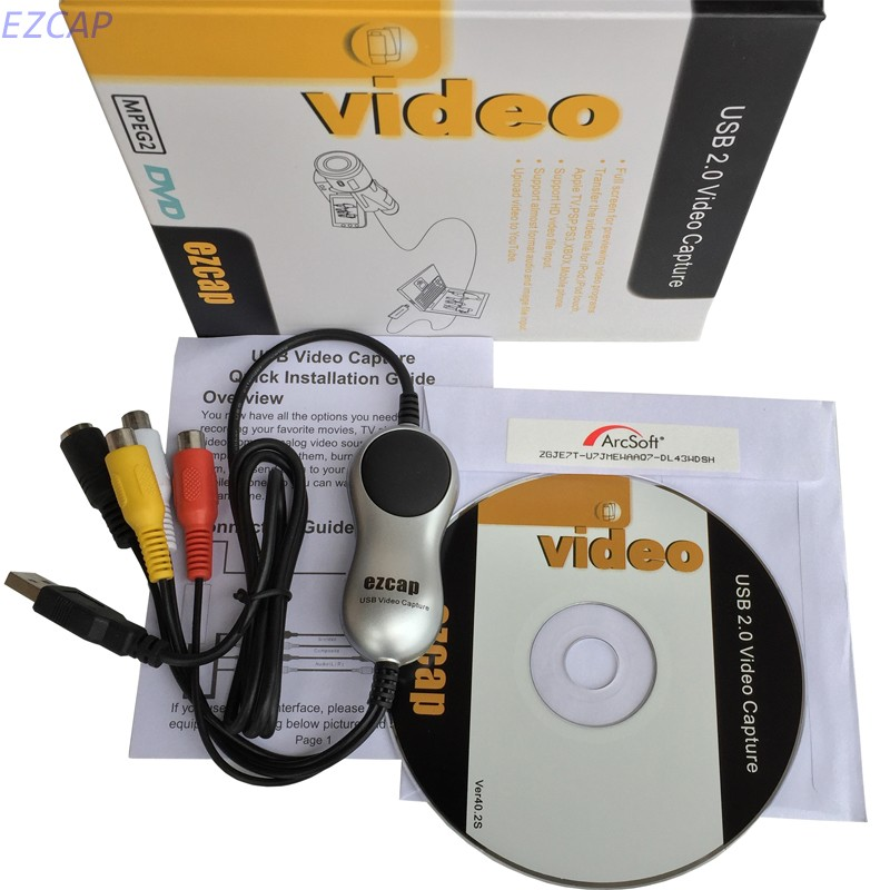 2017 New RCA Converter USB 2.0 convert analog video from vhs,v8,Hi8 camcorder to PC work for Windows 7 8 10 Free shipping