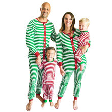 Family Matching Clothes Mum Dad Baby Christmas Pajamas Stripe Long Sleeve Casual Sleepwear Jumpsuit Romper Green Kid 2 Piece Set(China)