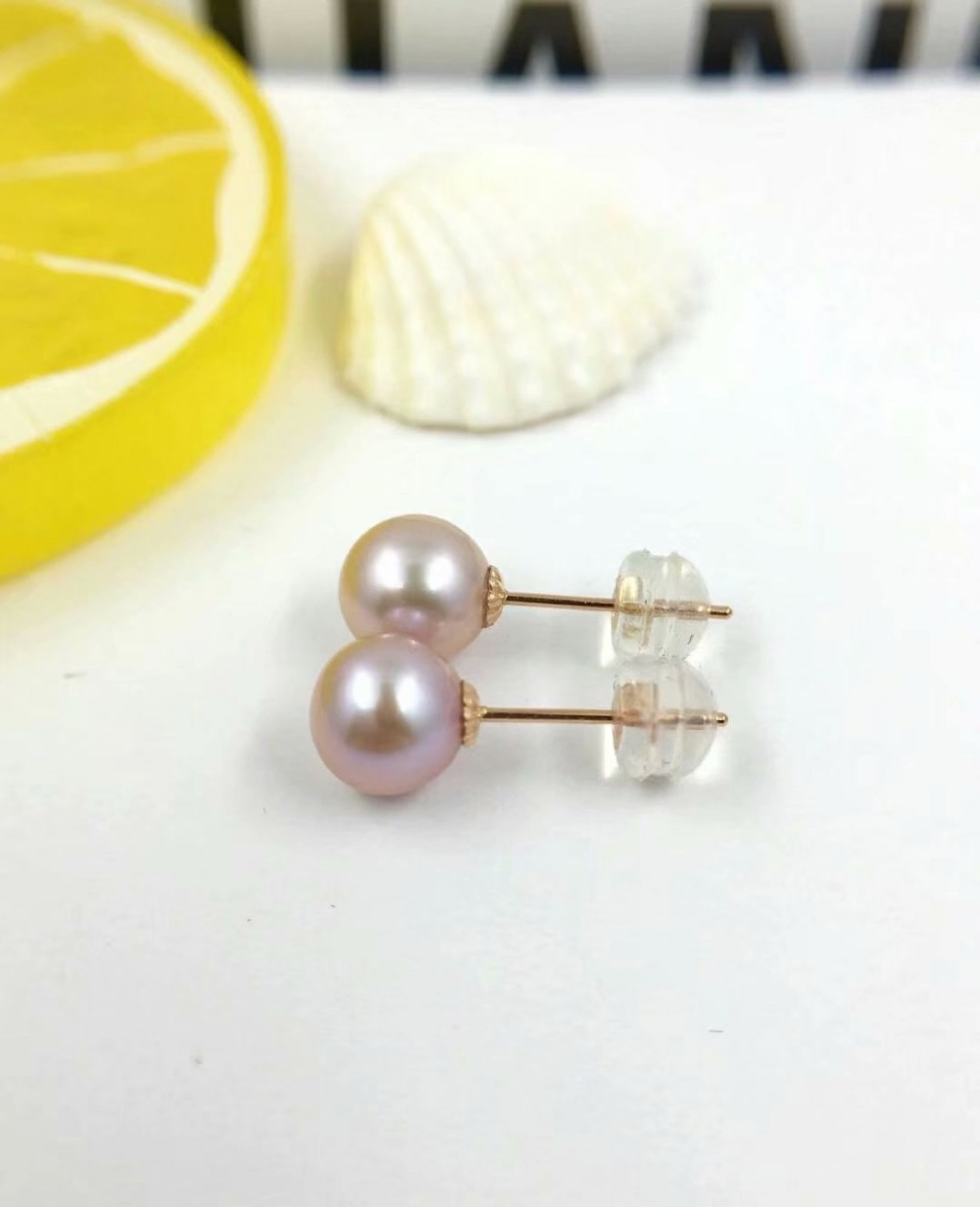 Shilovem Stud-Earrings Fine-Jewelry Rose Pearls Freshwater Natural New Gift Round 18k