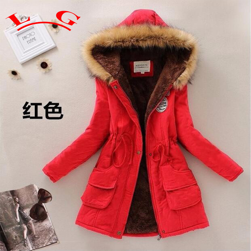 L G Winter Coat Women 2017 New Parka Casual Outwear Military Hooded Thickening Cotton Coat Winter