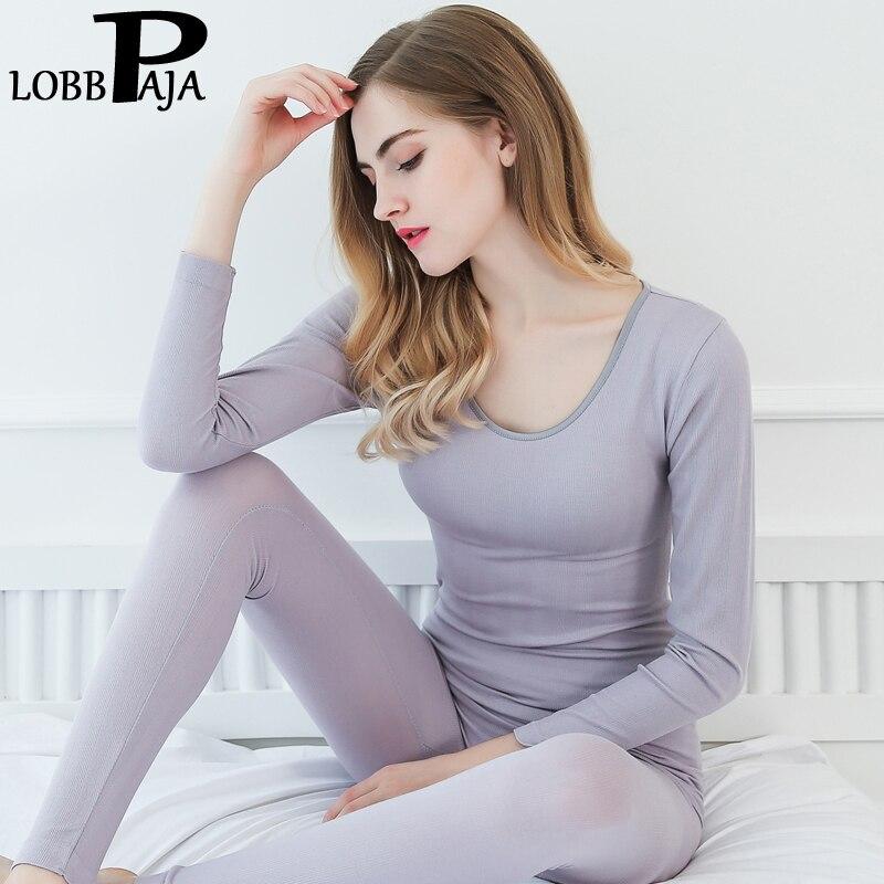 LOBBPAJA Winter Fall Women Long Johns Sets Woman O Neck Warm Clothing Sexy Solid Slim Ladies Thermal Underwear Sleepwear Set