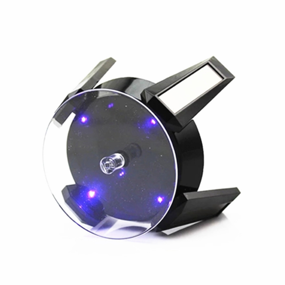 Black Solar Powered Jewelry Display Stand Phone  Watch Rotating Display Stand Turn Table