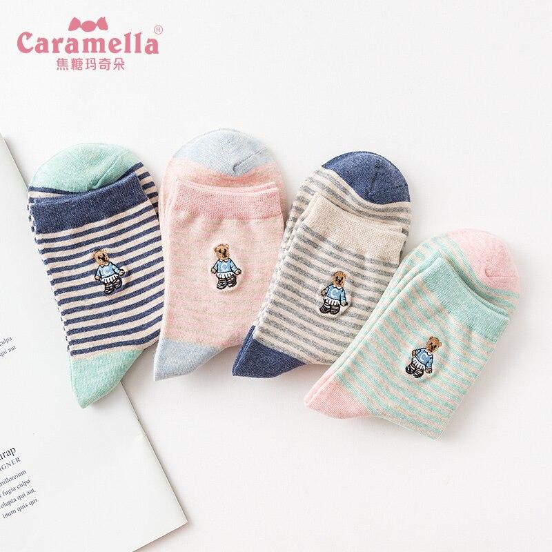 Caramella 4Pairs Combed Cotton Women's Socks Lovely Cartoon Teddy Bear Socks Spring Autumn Funny Socks Fashion Ladies Hosiery