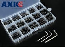 цена на AXK 280pcs M3 (3mm)  Alloy Steel Grade12.9 High Tensile Socket Cap Screws Allen Bolts DIN912 With Hex Nuts Assortment
