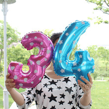 Hot 1piece16inch Cute pink/blue number 0-9 foil Balloons digital mylar ballon for New Year Birthday party Wedding Decoration