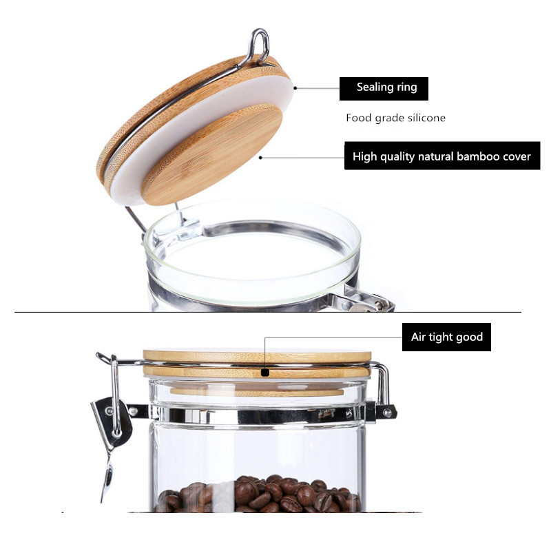 Five Sizes Glass Storage Tank With Wood Cover Spices Sugar Jar Container Kitchen Food Bottle Coffee Beans Tea Caddy 1pc in Storage Bottles Jars from Home Garden