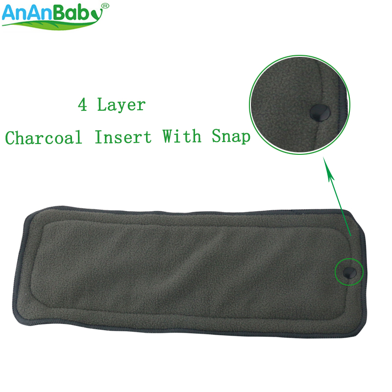 100Pcs/lot 4 Layer Bamboo Charcoal Insert With Snap Reusable Diapers Inserts