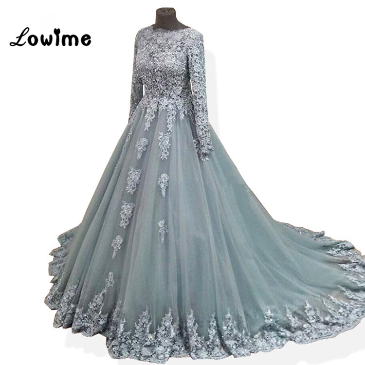 Silver Long Prom Dress Vestido Formatura 2018 Applique Custom Made ...