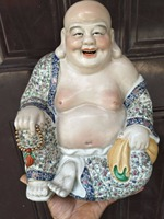 Antique Republic of Chinese porcelain statue,Pastry laughing Buddha sculpture #9,painted crafts,Decoration,Collection&Adornment