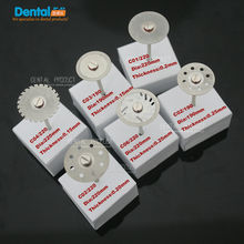 цена 6 pcs Dental thin Ultra-thin double sided sand diamond cutting disc with mandrel for separating polishing ceramic crwon and jade