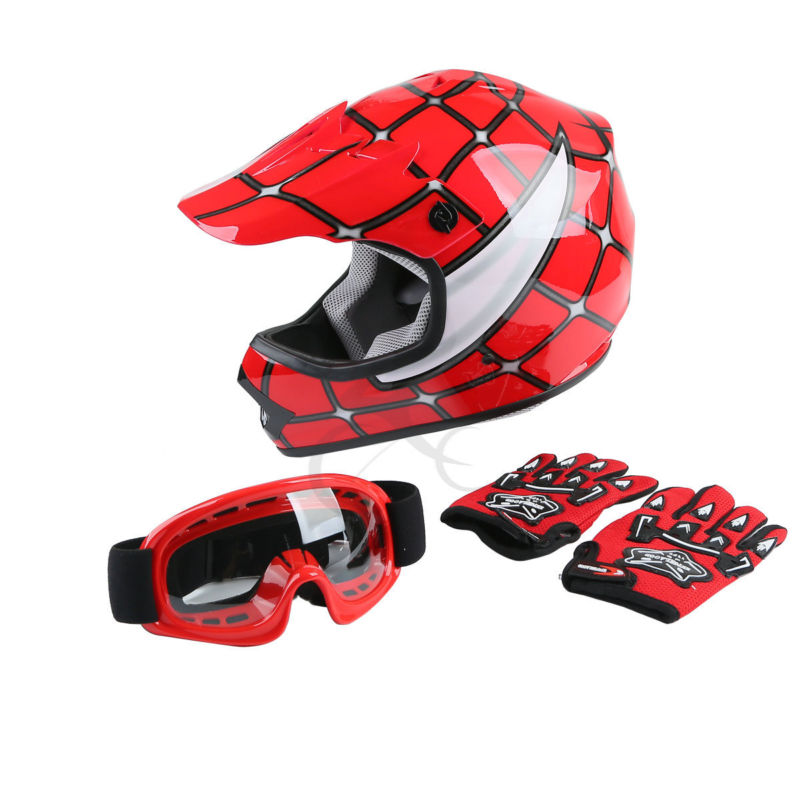 DOT Youth Kids Red Spider Net Motocross Off-Road Helmet MX Goggles+Gloves S M L