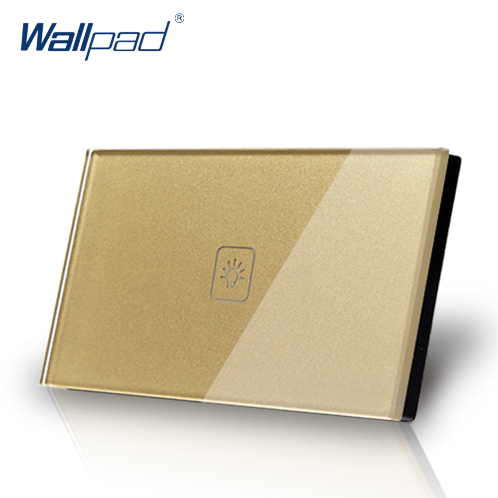 US/AU standard Wallpad Touch switch 1 gang 1 way Touch Screen Light Switch Gold Crystal Glass Panel Free Shipping 3 gang 1 way 118 72mm wallpad white glass touch wall switch panel led 110v 250v au us switching power supply free shipping