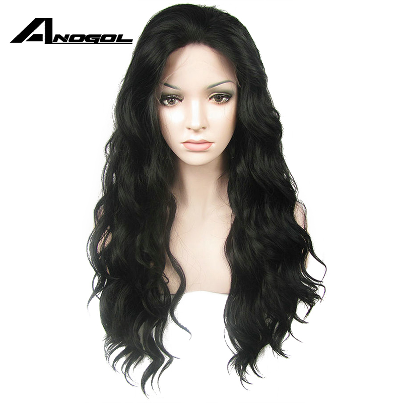 Anogol High Temperature Fiber Synthetic Front Lace Wigs 360 Long Loose Wave Natural Black Peruca lace