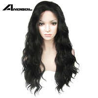 Anogol High Temperature Fiber Synthetic Front Lace Wigs 360 Long Loose Wave Natural Black Peruca lace front human hair wig Women